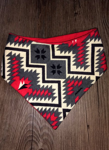 Red Aztec Flannel Snap-on Pet Bandana