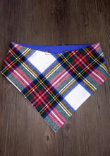 Load image into Gallery viewer, Blue and Red Holiday Flannel Snap-on Pet Bandana