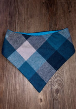 Load image into Gallery viewer, Teal Flannel Snap-on Pet Bandana