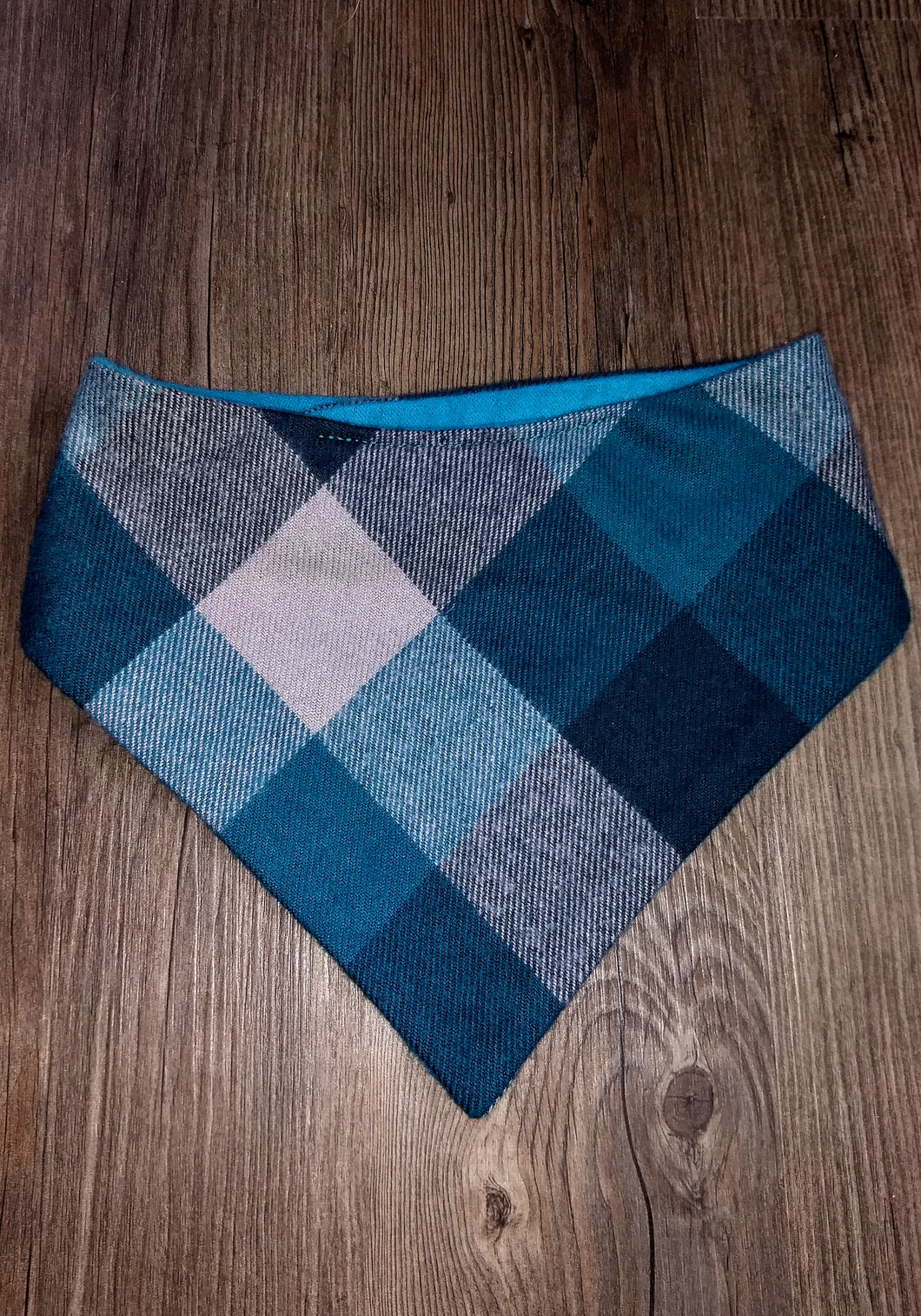 Teal Flannel Snap-on Pet Bandana