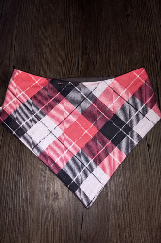 Coral Gray Plaid Snap-on Pet Bandana