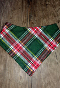 Christmas Plaid Snap-on Pet Bandana
