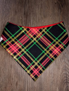 Red and Green plaid with Metallic Gold Snap-on Pet Bandana