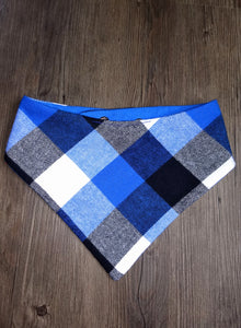 Blue Flannel Snap-on Pet Bandana