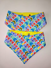 Load image into Gallery viewer, Electric Yellow and Blue Chevron Snap-on Pet Bandana
