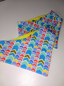 Electric Yellow and Blue Chevron Snap-on Pet Bandana