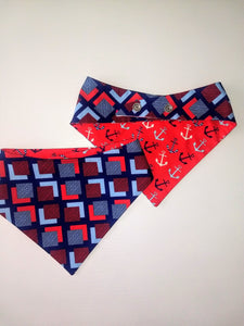 Navy Anchors Reversible Pet Bandana