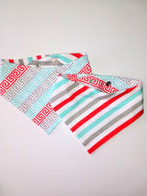 Load image into Gallery viewer, Greek Stripes Reversible Pet Bandana