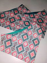 Load image into Gallery viewer, Teal and Coral Geometric Diamonds Snap-on Pet Bandana