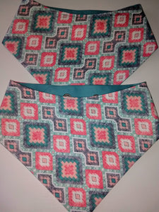 Teal and Coral Geometric Diamonds Snap-on Pet Bandana