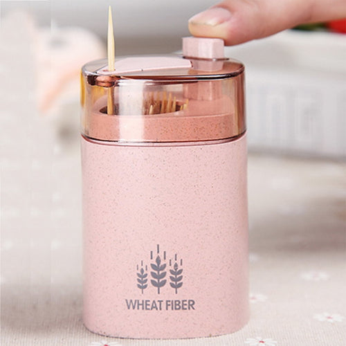 Automatic Toothpick Holder Container Wheat Straw