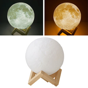 LED Night Light 3D Printing Moon Lamp Lunar Light Touch Control USB Charging Light