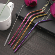 Load image into Gallery viewer, 4Pcs Stainless Steel Metal Drinking Straw Straight Bent with Brush