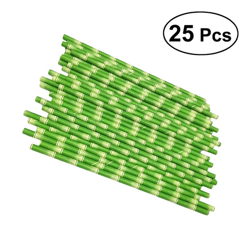 25pk Decorative, Eco-friendly Drinking Paper Straws - Green