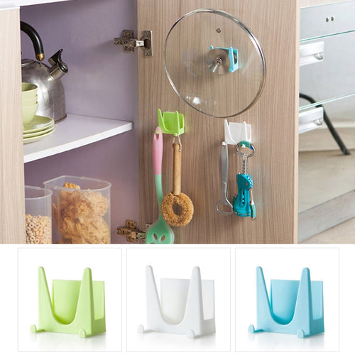 2Pk Wall Mounted Plastic Sucker Bracket Pot Lid Holder