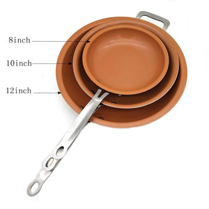Sweet Treats 8/10/12 inch Non-stick Copper Frying Pan with Ceramic Coating and Induction cooking