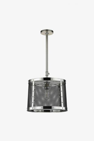 Ipswich Ceiling Mounted Pendant in Burnished Nickel with Black Mesh