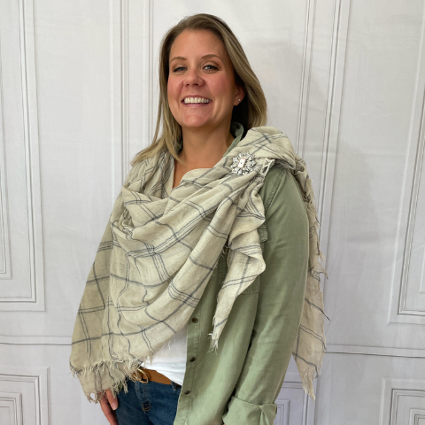 The Wrap Scarf Style with HDL Brooch