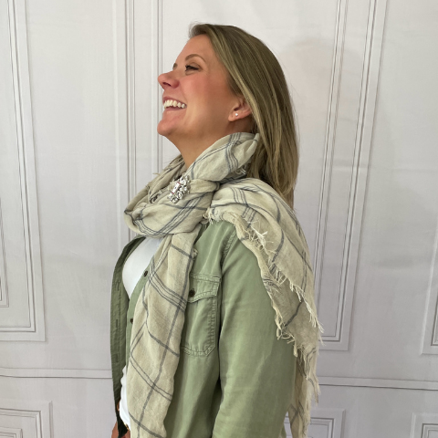 Over shoulder loop scarf style with HDL Brooch