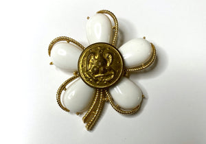 Navy Button Vintage One of a Kind Brooch BR373