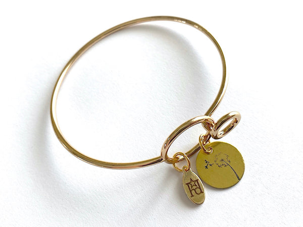 Dandelion Gold Bangle Bracelet with Custom Name