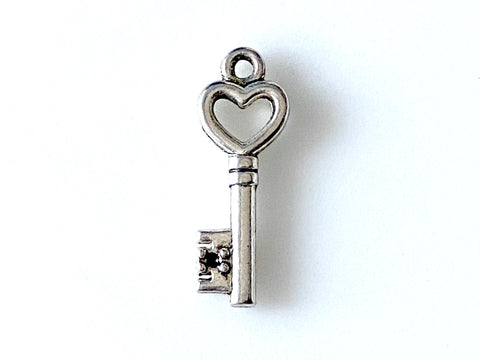 Heart Key Pewter Charm