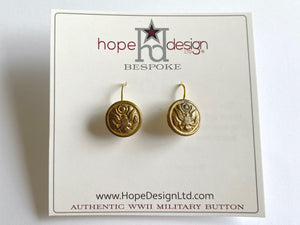 WWII Army Button Gold Plated French Wire Earrings BR531