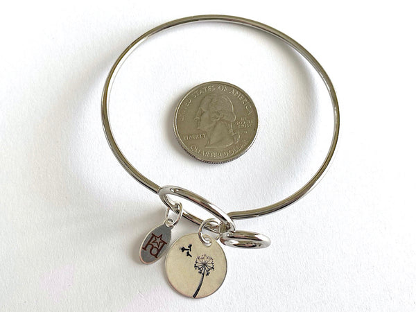 Dandelion Silver Bangle Bracelet with Custom Name
