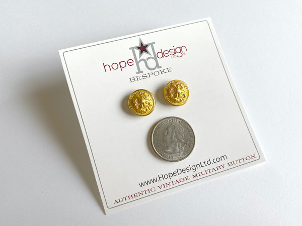 Vintage Navy Button Gold Post Earrings VB524