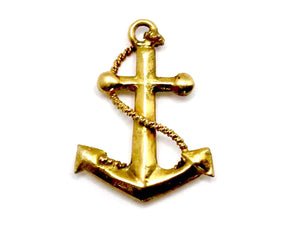 Vintage Sweetheart Charm | 14K Gold Fouled Anchor VB57