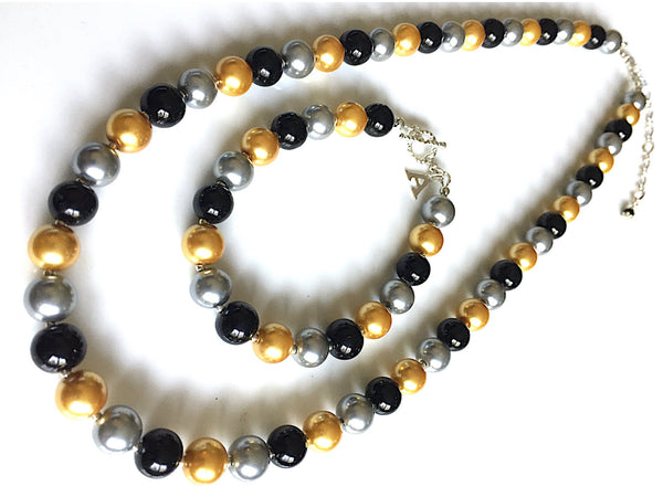 Black Gold & Gray Pearl Necklace