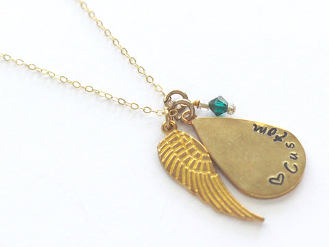 Angel Wing Pendant Gold Necklace