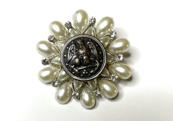 One of a Kind Vintage Navy Button Brooch BR372