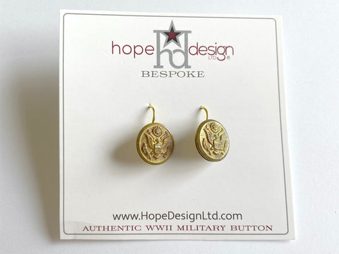 WWII Army Button Gold Plated French Wire Earrings VB522
