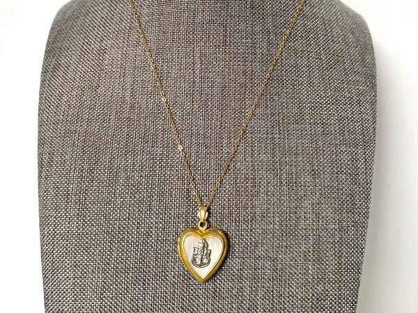 WWII-era Vintage Sweetheart Necklace | Navy Mother of Pearl Locket VB803