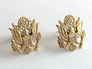 Patriotic Eagle Gold Post Earrings
