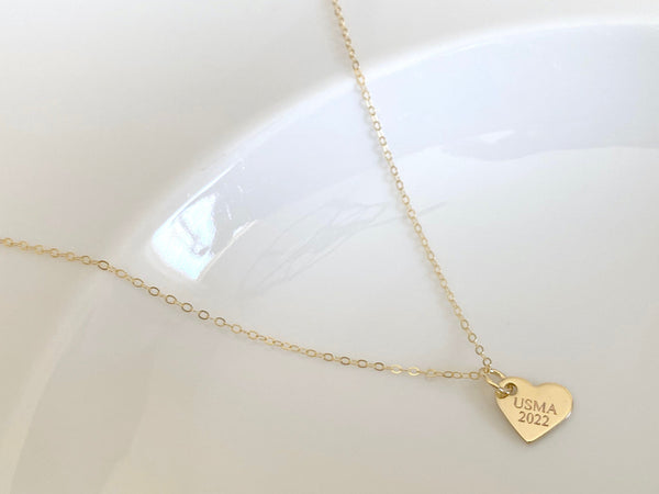 USMA Class of 2022 Gold Heart Charm Necklace BR526