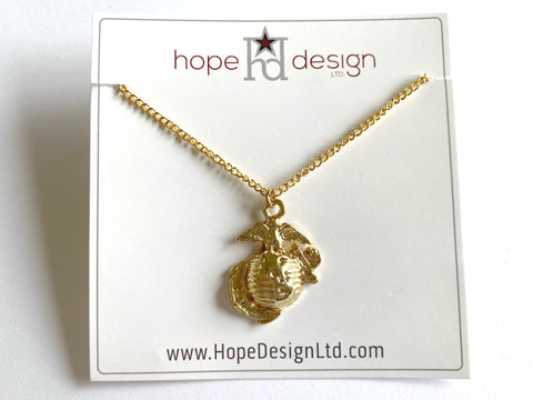 Marine Corps Eagle, Anchor, and Globe (EGA) Charm Necklace VB528