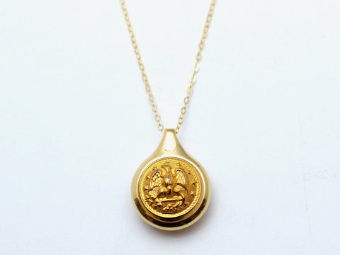 Navy Button Sleek Gold Necklace