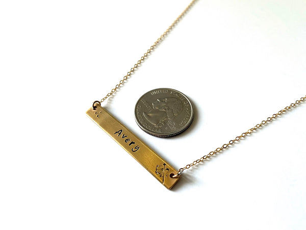Dandelion Bar Pendant Necklace