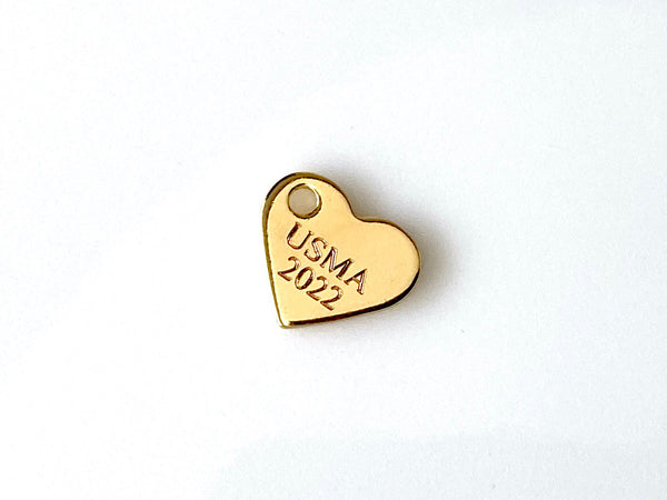 USMA Class of 2022 Engraved Heart in Gold Charm