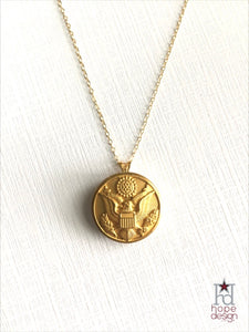 Vintage Army Button on Gold Necklace AG31