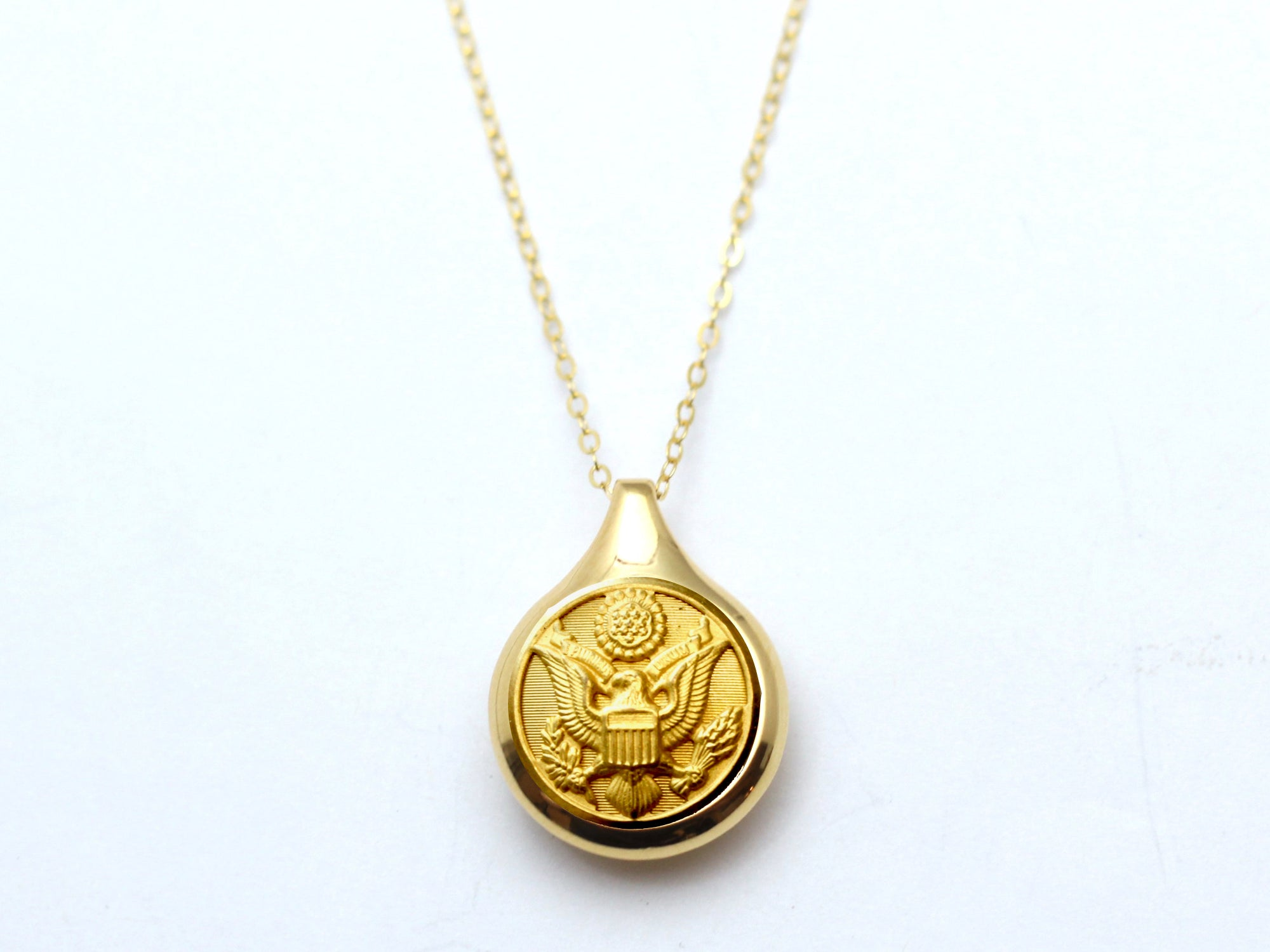 Army Button Sleek Gold Necklace