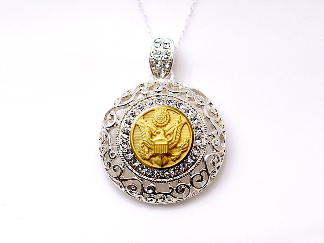 Army Button Necklace - Large Silver Rhinestone Pendant