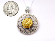 Load image into Gallery viewer, Army Button Necklace - Large Silver Rhinestone Pendant