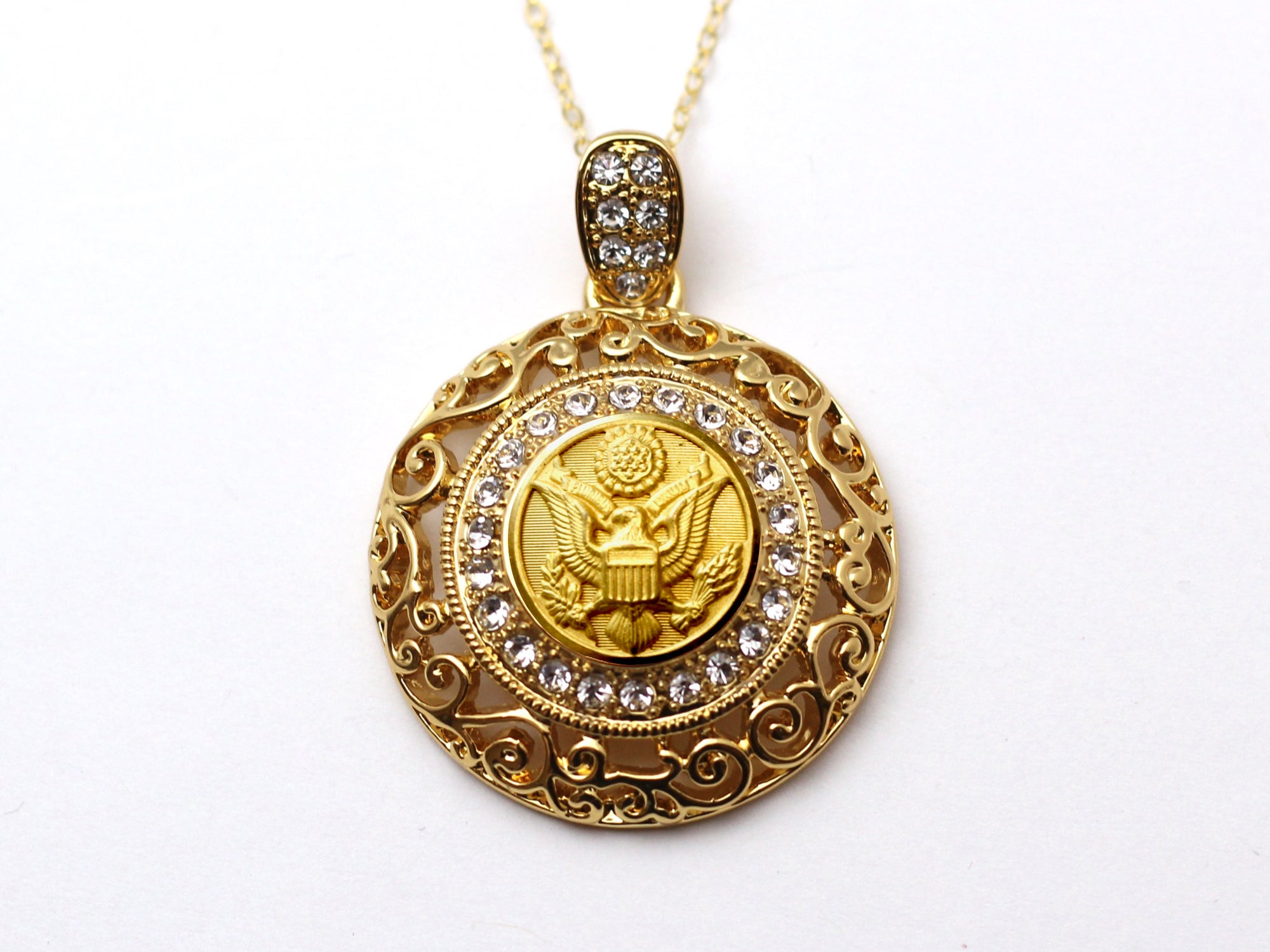 Army Button Necklace - Large Gold Rhinestone Pendant