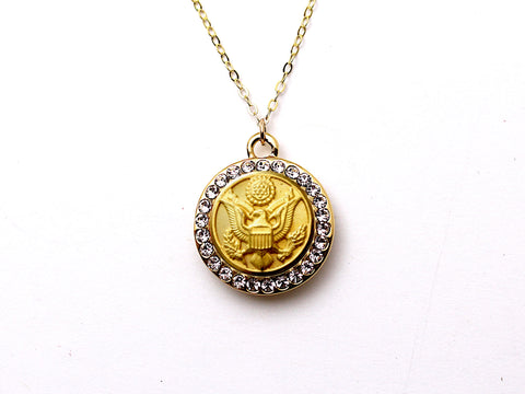 Army Button Necklace - Small Rhinestone Gold Pendant
