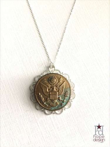 Vintage Army Button on Silver Necklace AS15