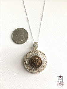 Vintage Army Button on Silver Necklace AS17