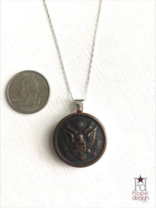 Vintage WWI Army Button on Silver Necklace AS19